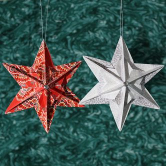Origami star ornaments in read and white with Vera Bradley Paper